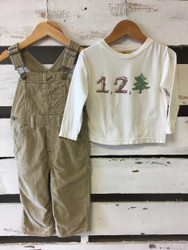 "Baby Gap Tan Corduroy Overalls with ""1,2, Tree"" Tee Shirt"