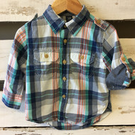 Baby Gap Navy & Teal Plaid Button Up Shirt