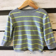 Baby Gap Grey and Highlighter Yellow Striped Shirt