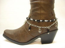 Boot Candy Black Crystals and Peace