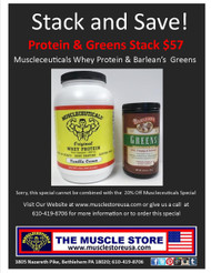 Protein & Greens Stack: Muscleceuticals Whey Protein & Barlean's Greens