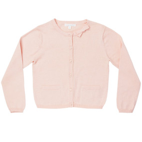 Summer Bow Cotton Cardigan - Pink