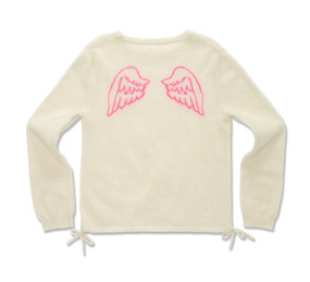 ANGEL WING INTARSIA SWEATER - OFF WHITE