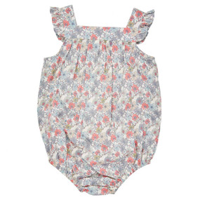 Liberty Floral Bubble Romper - Pink/Grey