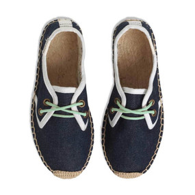 SOLUDOS DERBY ESPADRILLES WITH LACE - DENIM/AQUA