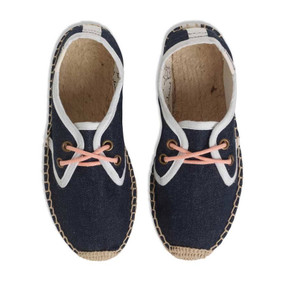 SOLUDOS DERBY ESPADRILLES WITH LACE - DENIM/CORAL