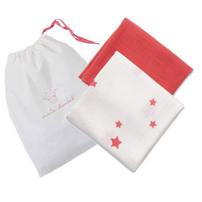 MUSLIN BLANKET GIFT SET - RED