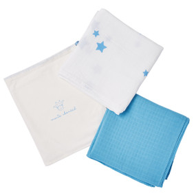 MUSLIN BLANKET GIFT SET - BLUE