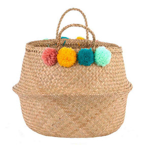 POM POM WOVEN BAG - GREEN/PINK/YELLOW