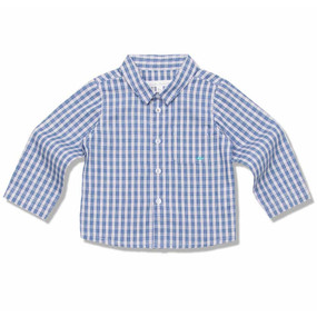 FINE COTTON CHECK  SHIRT - BLUE CHECK - BABY