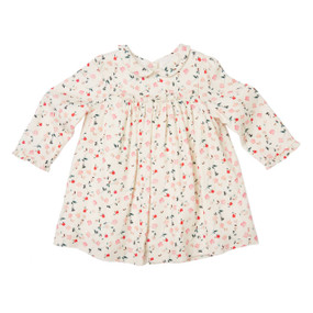 Mini Bloom Wind Print Dress - Cream/Pink