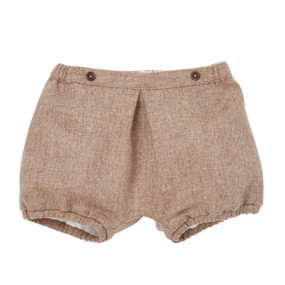 Wool-Cashmere Bubble Shorts - Chocolate