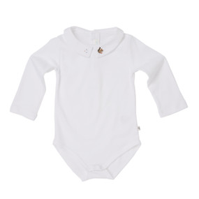 Hand Embroidered Squirrel Onesie - White
