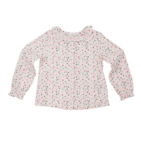 Ruffled Bloom Wind Print Blouse - White/Pink