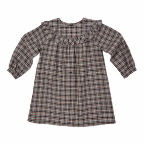 Classic Tartan Ruffled Dress - Grey/Camel