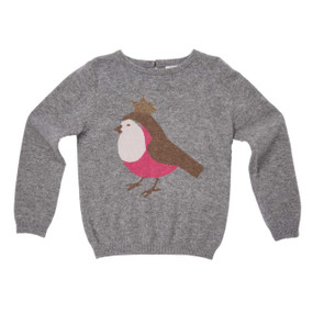 Crowned Robin Cashmere Sweater - Grey