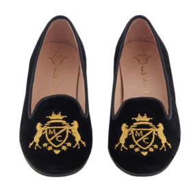 Velvet Slipper with MC Crest - Black