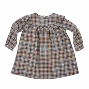 Mini Tartan Ruffled Dress - Grey/Camel