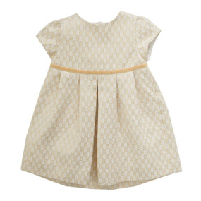Mini Geometric Gold Jacquard Dress - Ecru/Gold
