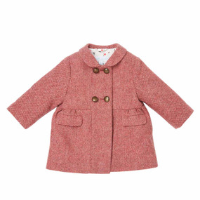 Mini Herringbone Coat - Carmine Pink