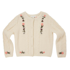Hand Embroidered Cable Cardigan - Cream