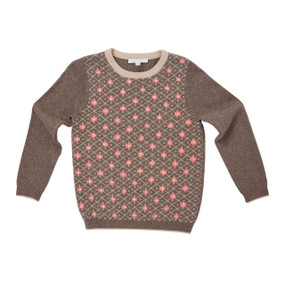 Floral Hand Embroidered Sweater - Taupe