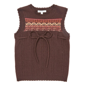 Fair Isle Lambswool Gillet - Dark Brown