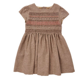 Hand Smocked Wool-Cashmere Dress - Chocolate