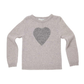 Sparkle Heart Cashmere Sweater - Pale grey
