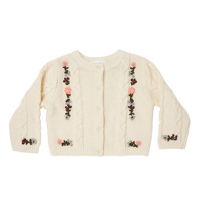 Mini Hand Embroidered Cardigan - Off White
