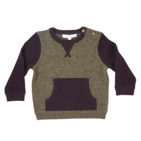 Mini Two-tone Cashmere Sweater - Army/Raisin