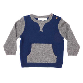 Mini Two-tone Cashmere Sweater - Blue/Grey