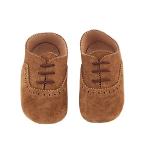 Pram Shoe - Suede Brogues - Chocolate