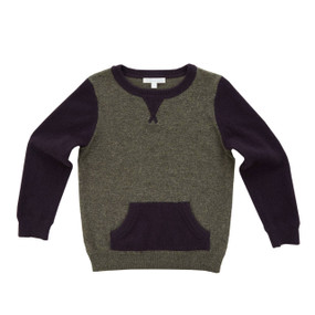 Two-tone Cashmere Sweater - Army/Raisin