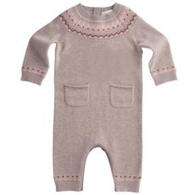 Fair Isle Chocolate Cashmere Romper - Chocolate