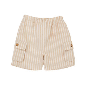 Amaud - Stripe Cargo Short - Beige/White