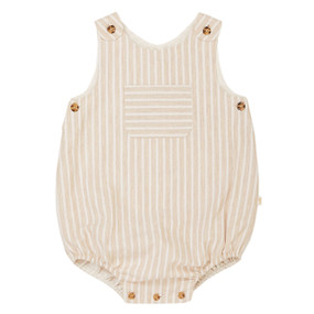 Aleron - Stripe Bubble Romper - Beige/White
