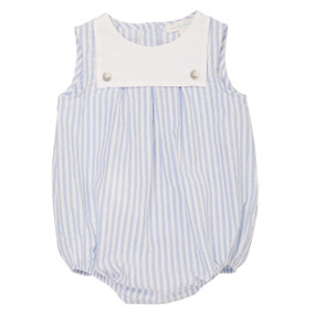 Archer - Seersucker Bubble Romper - Blue/White