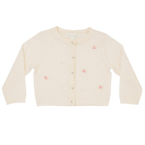 Arcadia - Cashmere Embroidered Cardigan - Cream