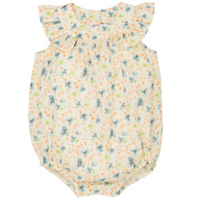 Alita - White Cherry Tree Printed Bubble Romper - White Cherry tree