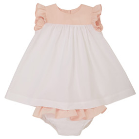 Alixandra - Two tone poplin dress with bloomer - Pink/White