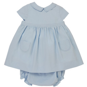 Amy - Poplin Dress with Bloomer - Light Blue