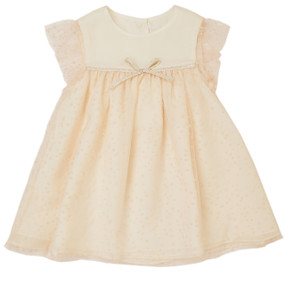 Alysa - Baby Silk Chiffon Dress with Tulle overlay - Pink