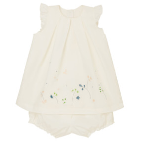 Ava - Flower Embroidered Dress - White