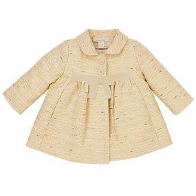 Aubrie - Baby Girl Tweed Coat - Yellow