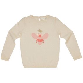 Aubina - Cashmere Intarsia Bee Sweater - Cream