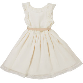 Avelaine - Silk Dress with 3 Colour Belts - Ivory