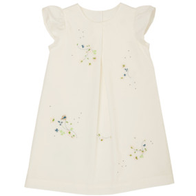 Angela - Flower Embroidered Dress - White