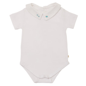 Alex - Shirt Collar Onesie Beetles Embroidery - White