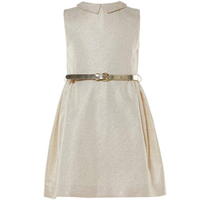BEDA - GOLD JACQUARD DRESS WITH LEATHER BELT - OFFWHITE/GOLD